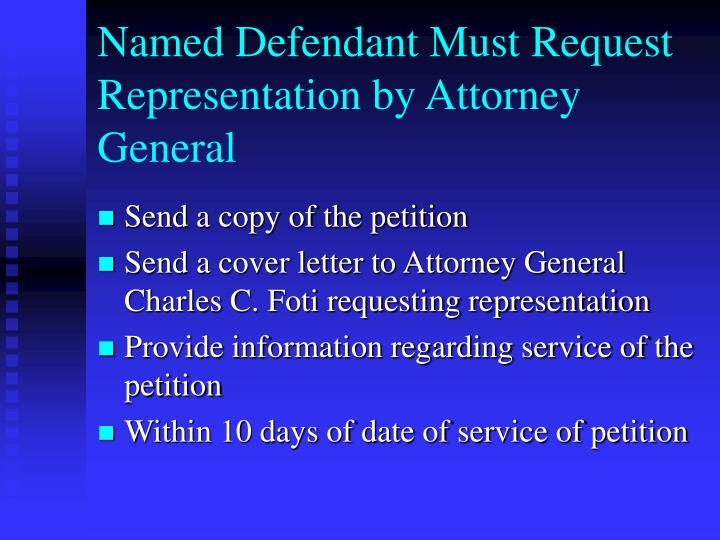 Named Defendant Must Request Representation by Attorney General
