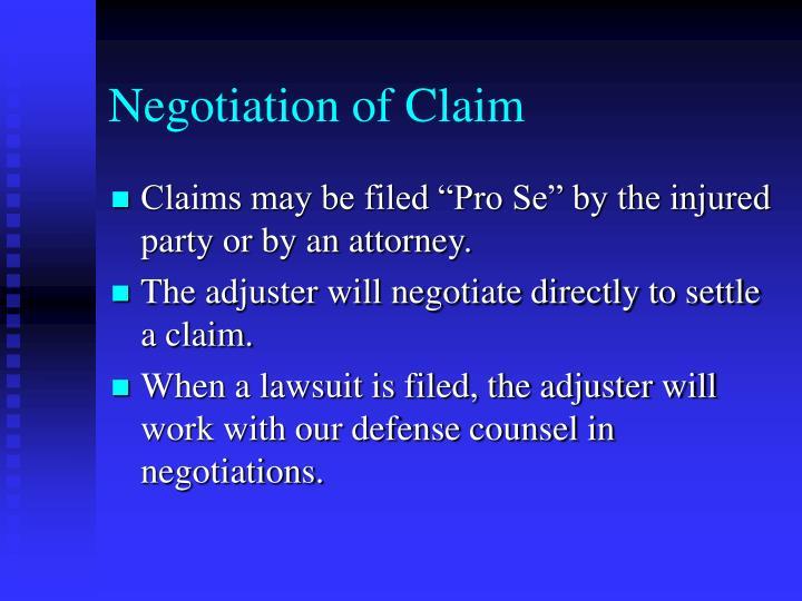 Negotiation of Claim