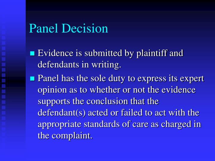 Panel Decision