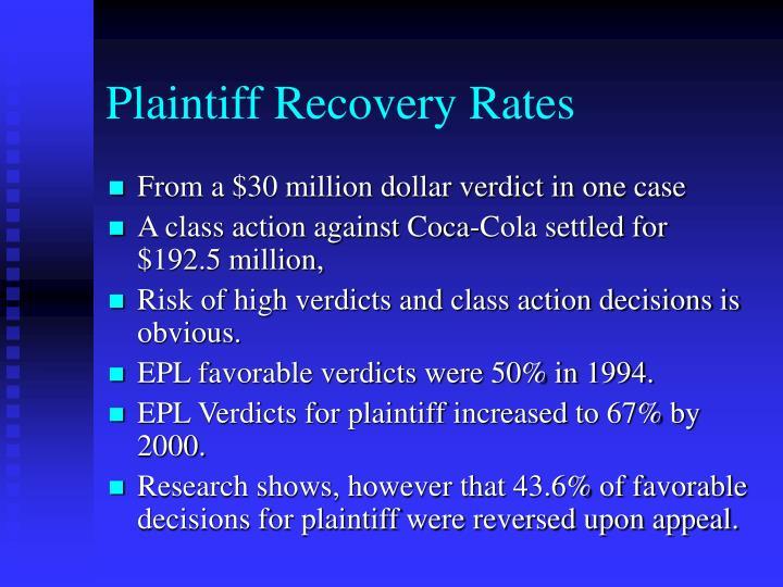 Plaintiff Recovery Rates