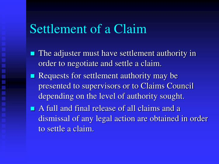 Settlement of a Claim