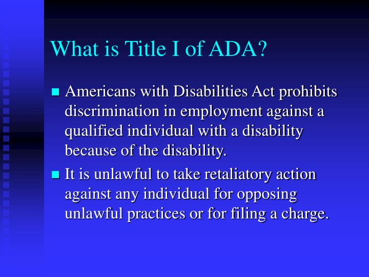 What is Title I of ADA?
