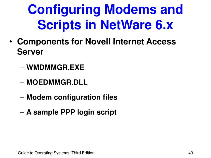 Configuring Modems and Scripts in NetWare 6.x