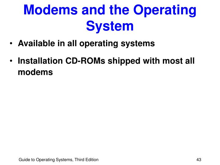 Modems and the Operating System