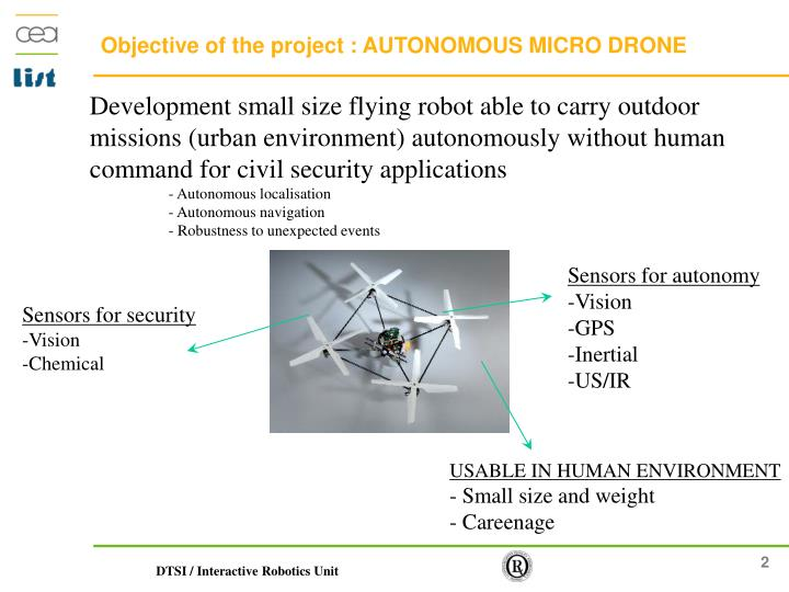 Objective of the project : AUTONOMOUS MICRO DRONE