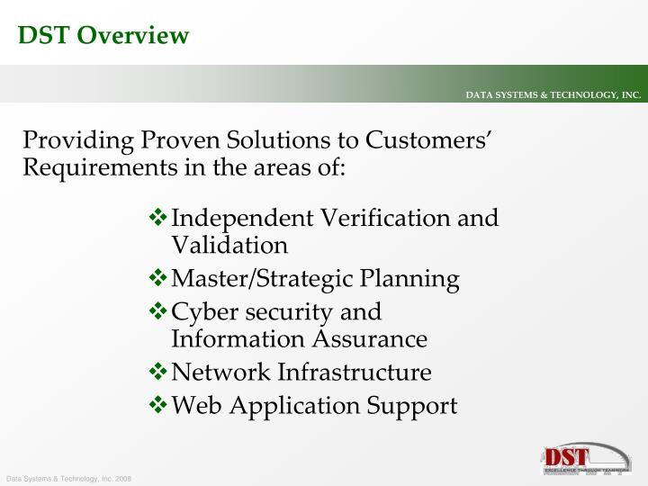 Providing Proven Solutions to Customers' Requirements in the areas of: