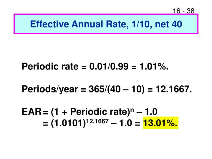 Effective Annual Rate, 1/10, net 40