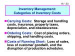 inventory management categories of inventory costs