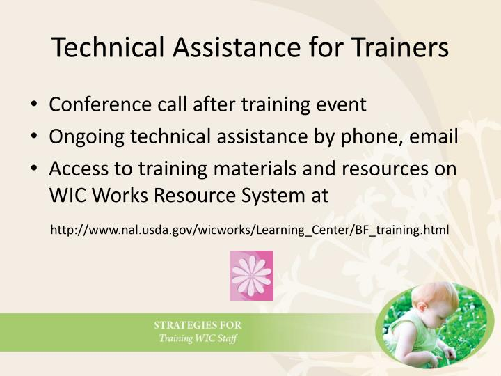 Technical Assistance for Trainers