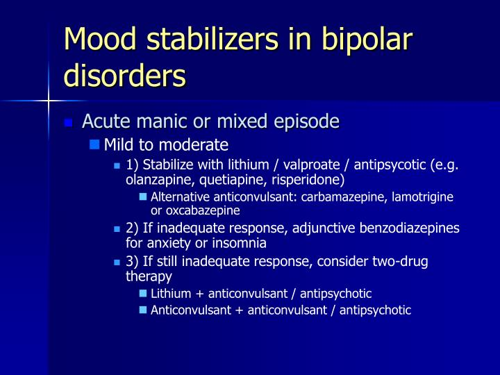 Mood stabilizers in bipolar disorders