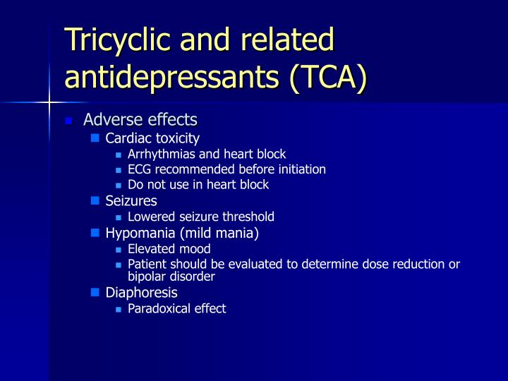 Tricyclic and related antidepressants (TCA)