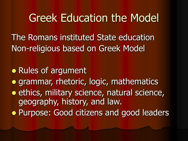 Greek Education the Model