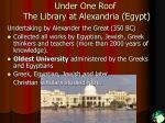 under one roof the library at alexandria egypt