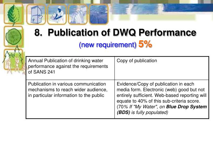 8.  Publication of DWQ Performance