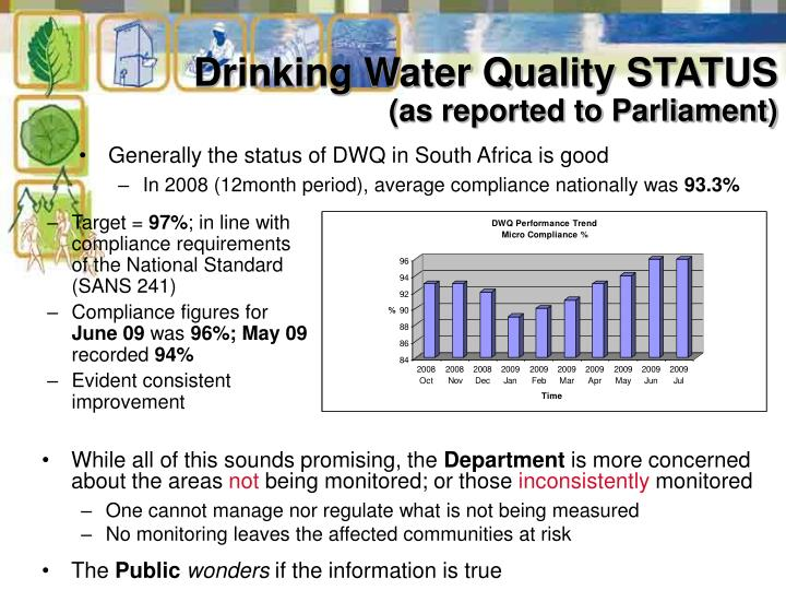 Drinking water quality status as reported to parliament