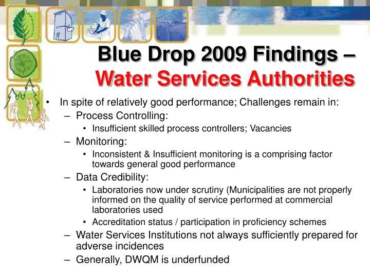 Blue Drop 2009 Findings –