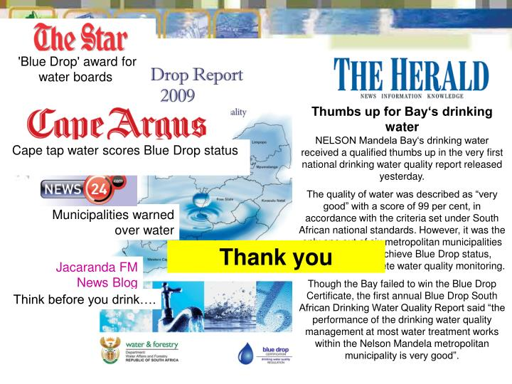 'Blue Drop' award for water boards