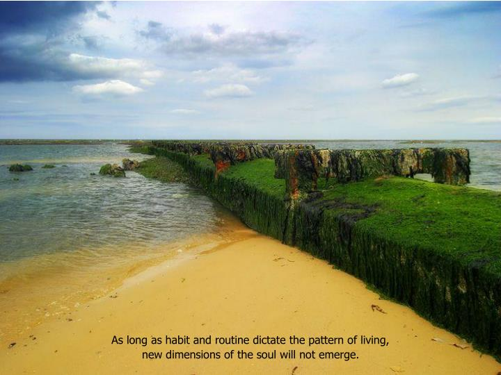 As long as habit and routine dictate the pattern of living,
