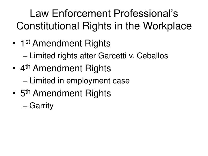 Law Enforcement Professional's Constitutional Rights in the Workplace