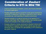 consideration of daubert criteria to dti in mild tbi