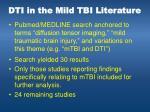dti in the mild tbi literature