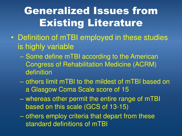 Generalized Issues from Existing Literature
