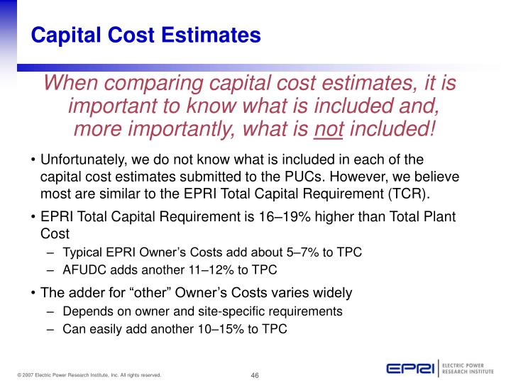 Capital Cost Estimates