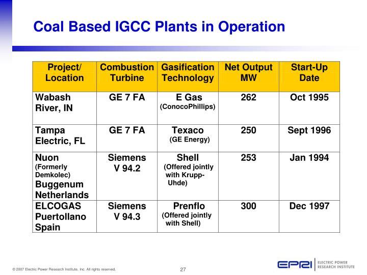 Coal Based IGCC Plants in Operation