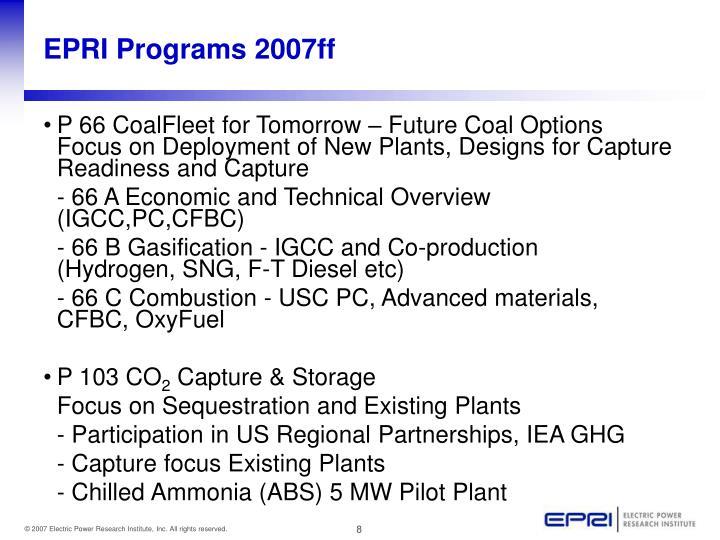 EPRI Programs 2007ff