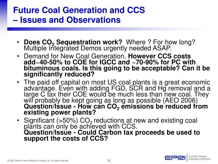 Future Coal Generation and CCS