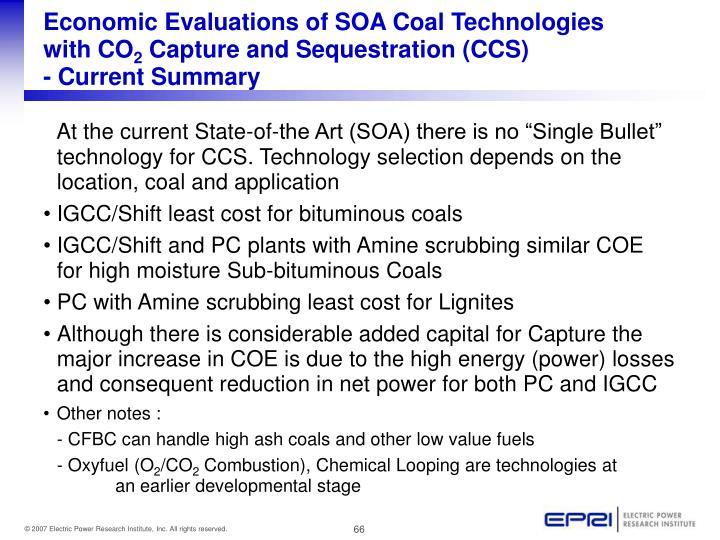 Economic Evaluations of SOA Coal Technologies
