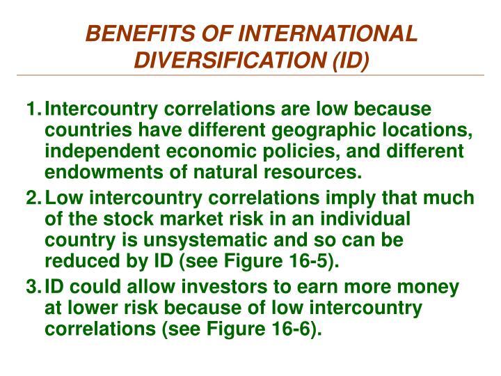 BENEFITS OF INTERNATIONAL DIVERSIFICATION (ID)