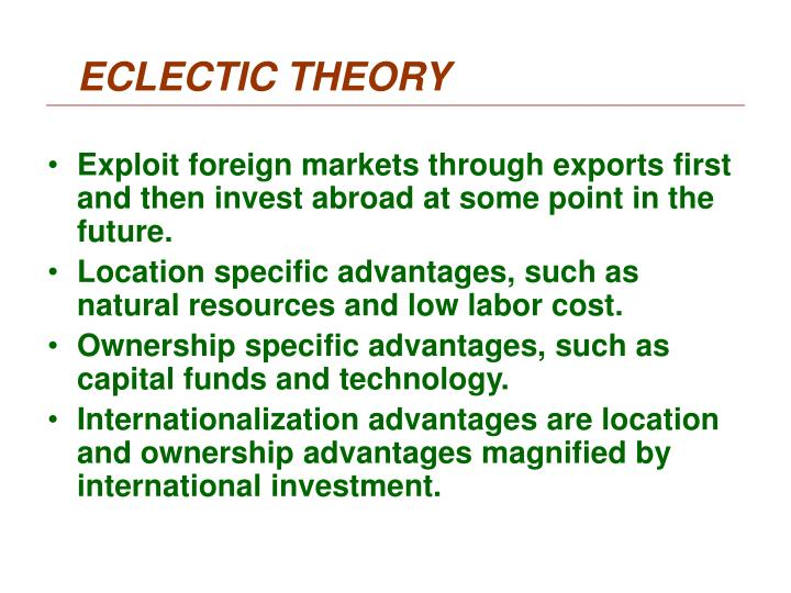 ECLECTIC THEORY