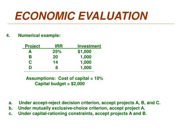 ECONOMIC EVALUATION
