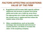 factors affecting acquistions value of the firm2