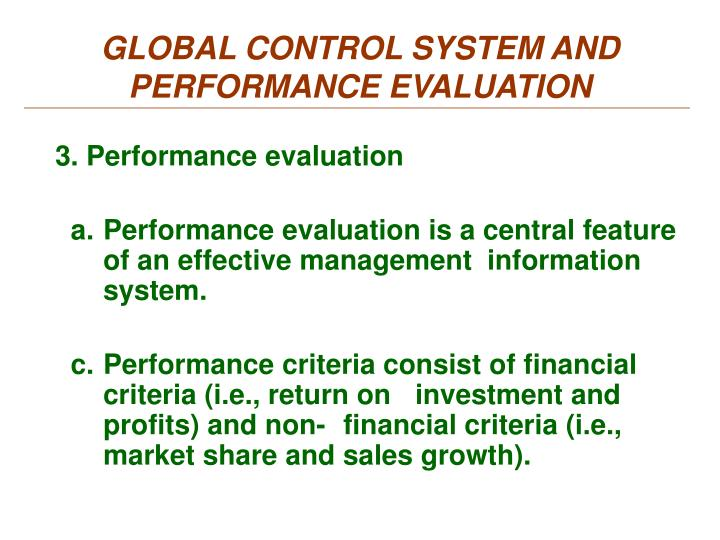 GLOBAL CONTROL SYSTEM AND PERFORMANCE EVALUATION