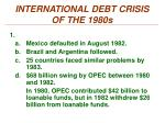 international debt crisis of the 1980s