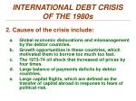international debt crisis of the 1980s1
