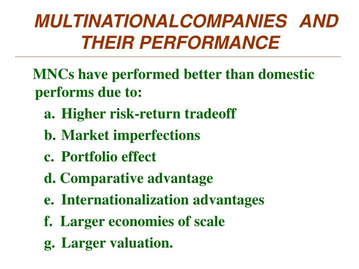MULTINATIONALCOMPANIES AND    THEIR PERFORMANCE