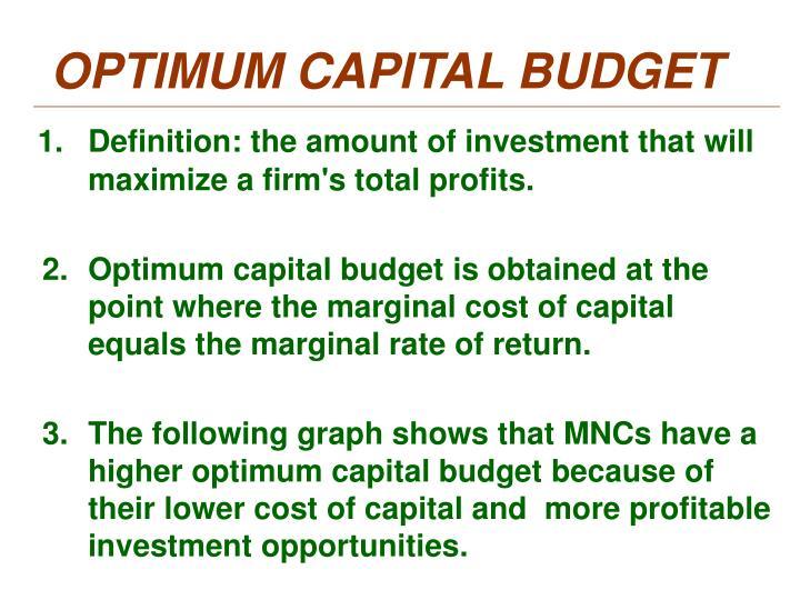OPTIMUM CAPITAL BUDGET