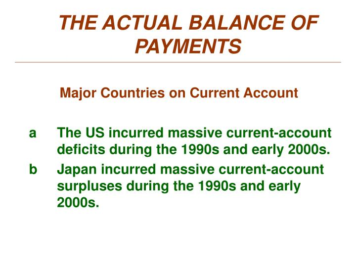 THE ACTUAL BALANCE OF PAYMENTS