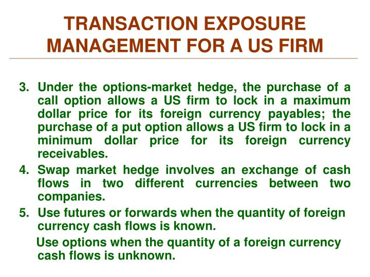 TRANSACTION EXPOSURE MANAGEMENT FOR A US FIRM