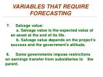 variables that require forecasting3