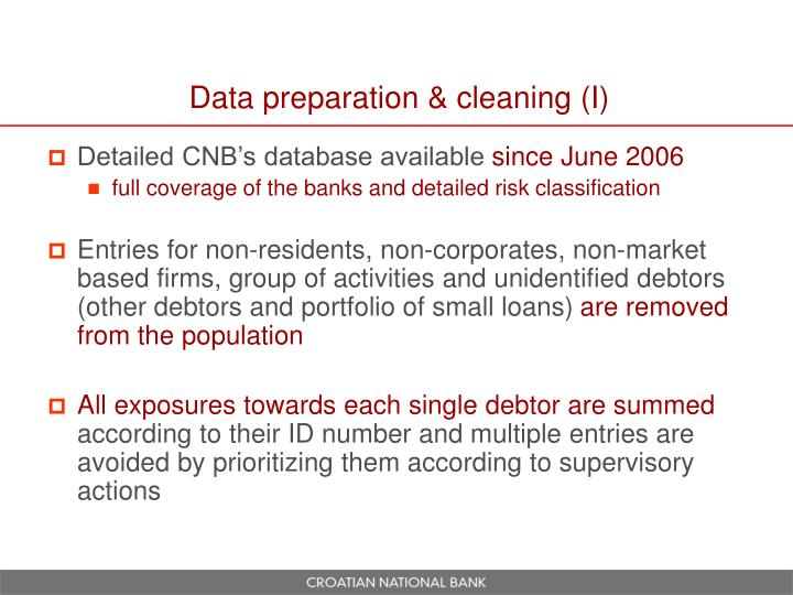 Data preparation & cleaning (I)