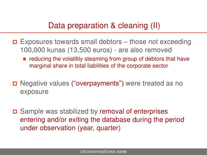 Data preparation & cleaning (II)