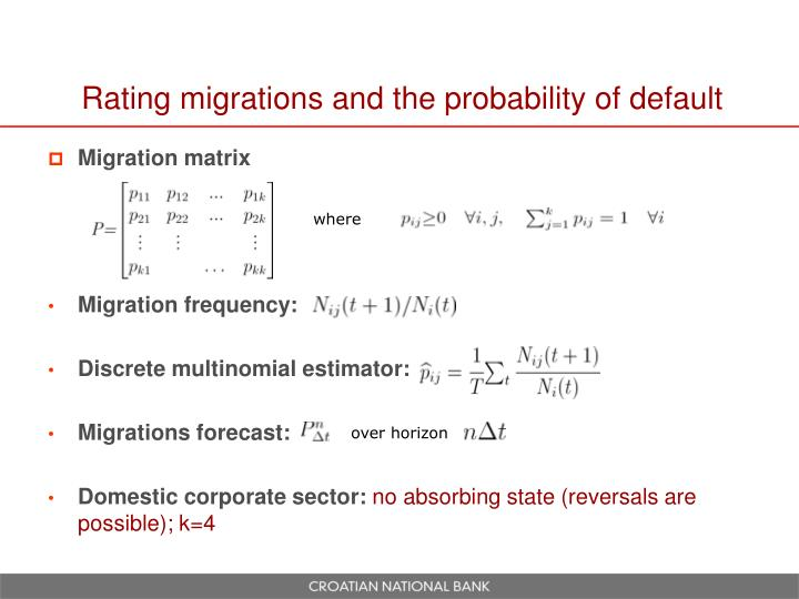 Rating migrations and the probability of default
