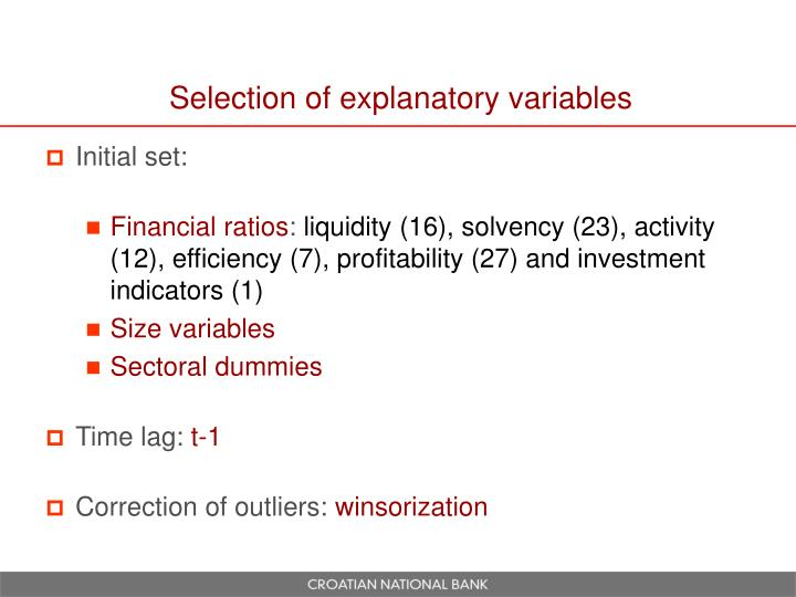 Selection of explanatory variables