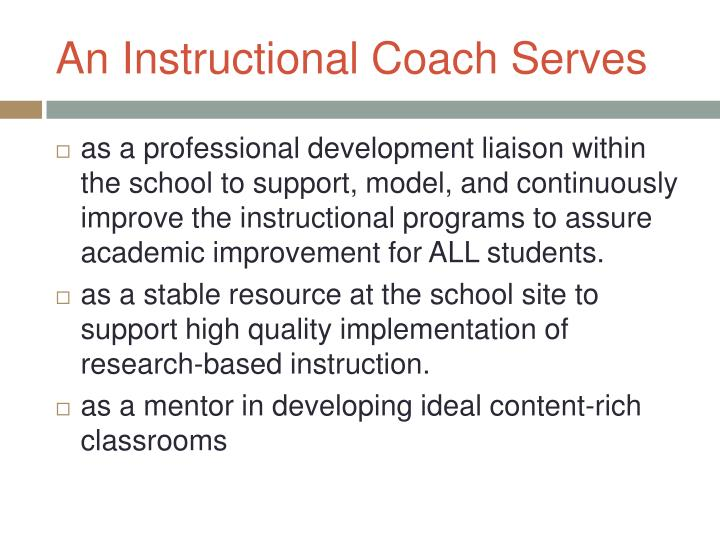 An Instructional Coach Serves