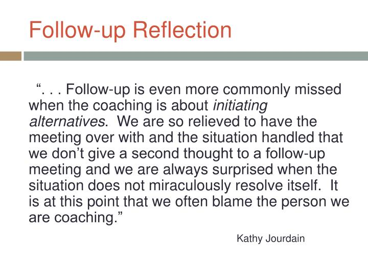 Follow-up Reflection
