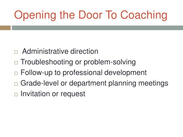 Opening the Door To Coaching